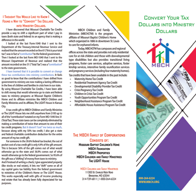 Convert Your Tax Dollars into Ministry Dollars
