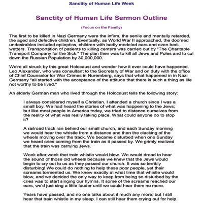 Sanctity of Human Life Outline