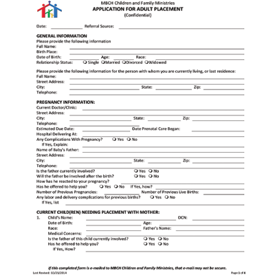 Intake Form Adult Placement