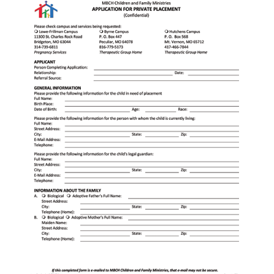 Intake Form for Minors