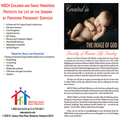 Sanctity of Human Life MBCH Bulletin