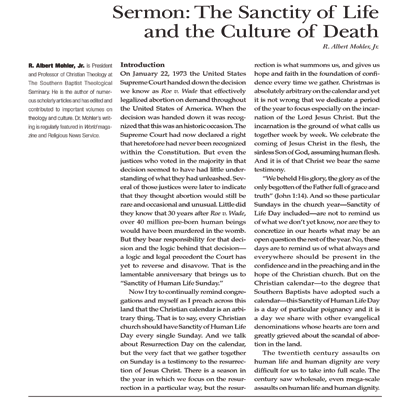 Sanctity of Human Life Sermon